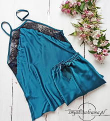 Satynowa piżama z koronką. ...