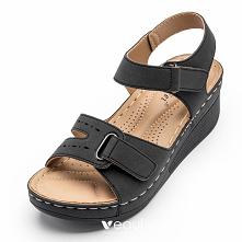 Wygodna Czarne Przypadkowy Sandały Damskie 2021 5 cm Na Koturnie Peep Toe Sandały