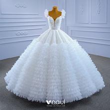 Luksusowe Białe Plisowane Z...
