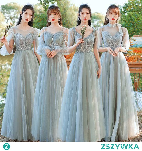Proste / Simple Szałwia Zielony Wzburzyć Sukienki Dla Druhen 2021 Princessa V-Szyja Kótkie Rękawy Bez Pleców Długie Sukienki Na Wesele