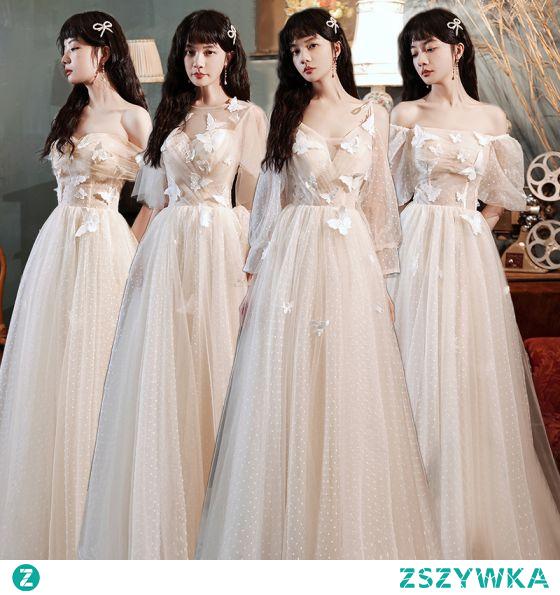 Proste / Simple Szampan Sukienki Dla Druhen 2021 Princessa Wycięciem Motyl Z Koronki Kwiat Kótkie Rękawy Bez Pleców Długie Sukienki Na Wesele