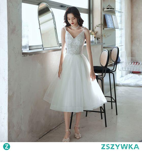 Moda Uroczy Białe Homecoming Sukienki Na Studniówke 2021 Princessa Spaghetti Pasy Cekiny Bez Rękawów Bez Pleców Długość Herbaty Sukienki Wizytowe
