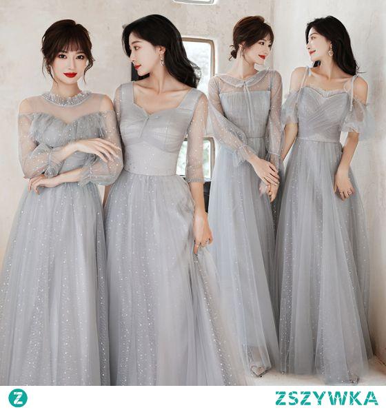 Stylowe / Modne Szary Sukienki Dla Druhen 2021 Princessa Wycięciem Cekiny 3/4 Rękawy Bez Pleców Długie Sukienki Na Wesele