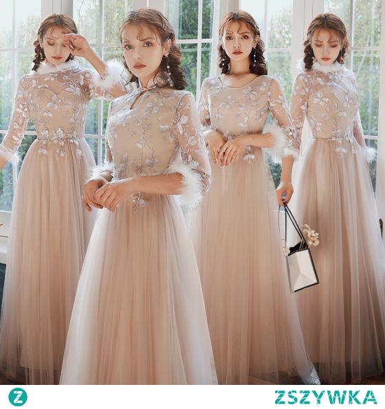 Chiński Styl Eleganckie Rumieniąc Różowy Haftowane Sukienki Dla Druhen 2021 Princessa Wycięciem 3/4 Rękawy Długie Sukienki Na Wesele