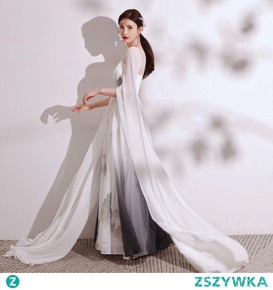 Chiński Styl Gradient-Kolorów Kość Słoniowa Druk Sukienki Wieczorowe 2021 Princessa Wycięciem Kótkie Rękawy Długie Sukienki Wizytowe