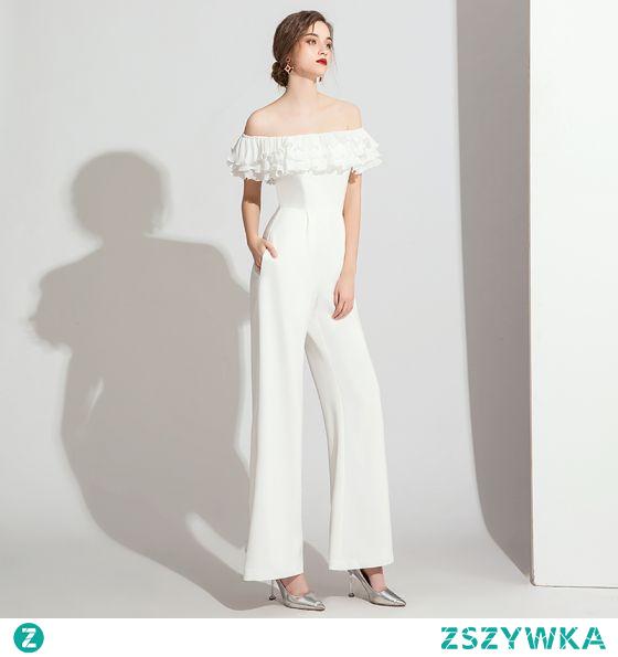 Eleganckie Kość Słoniowa Kombinezon Sukienki Wieczorowe 2021 Wzburzyć Przy Ramieniu Kótkie Rękawy Bez Pleców Wieczorowe Długie Sukienki Wizytowe
