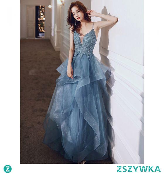 Piękne Niebieskie Kaskadowe Falbany Sukienki Na Bal 2021 Princessa Spaghetti Pasy Z Koronki Kwiat Bez Rękawów Bez Pleców Długie Bal Sukienki Wizytowe