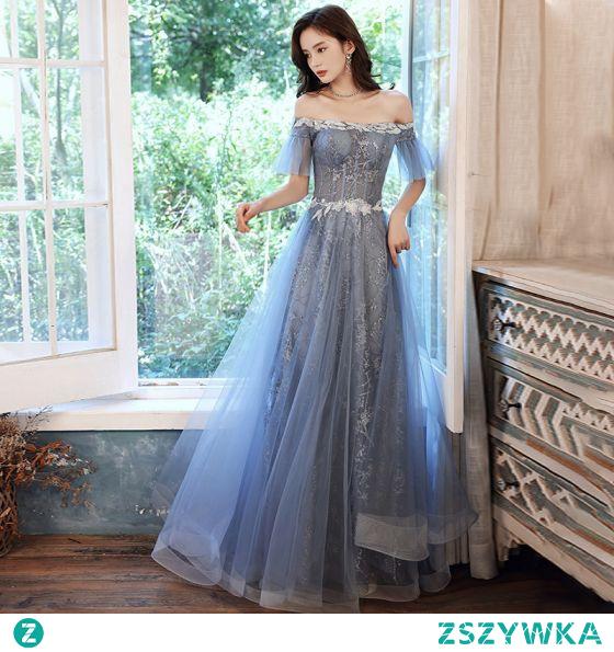 Uroczy Błękitne Sukienki Wieczorowe Sukienki Na Bal 2021 Princessa Przy Ramieniu Cekinami Cekiny Kótkie Rękawy Bez Pleców Długie Wieczorowe Bal Sukienki Wizytowe