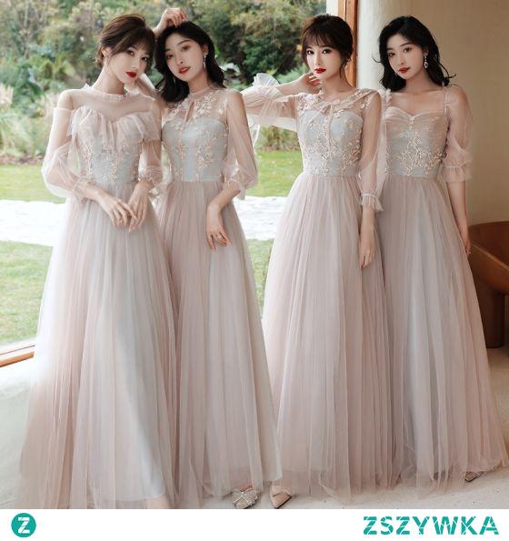 Moda Różowy Perłowy Sukienki Dla Druhen 2021 Princessa Wycięciem Z Koronki Kwiat Aplikacje 3/4 Rękawy Bez Pleców Długie Sukienki Na Wesele