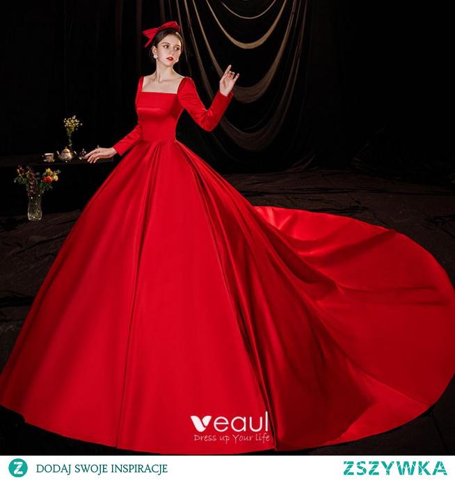 Piękne Czerwone Satyna Suknie Ślubne 2021 Suknia Balowa Kwadratowy Dekolt Długie Rękawy Bez Pleców Trenem Królewski Ślub