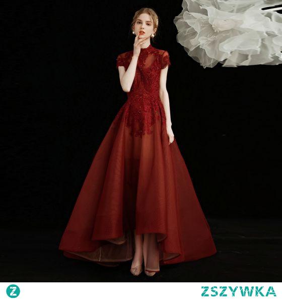 Chiński Styl Burgund Sukienki Na Bal 2021 Princessa Wysokiej Szyi Frezowanie Kryształ Rhinestone Z Koronki Kwiat Kótkie Rękawy Długość Herbaty Sukienki Wizytowe