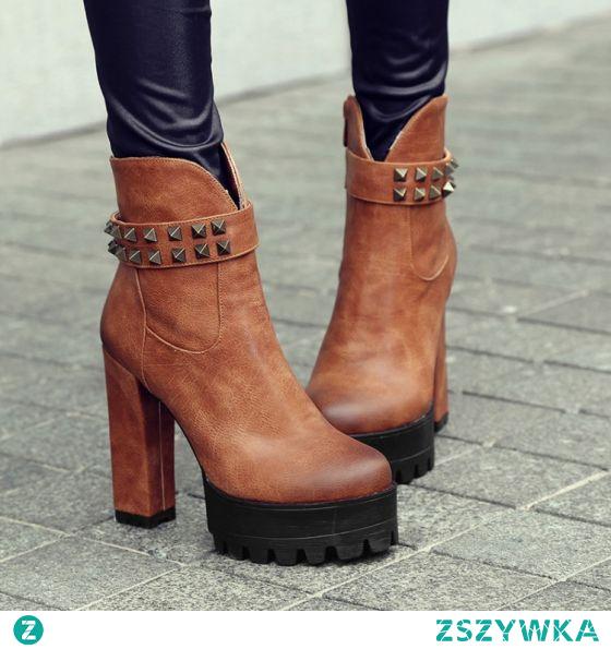 Skromna Tan Zużycie ulicy Nit Buty Damskie 2021 12 cm Grubym Obcasie Wodoodporne Okrągłe Toe Boots
