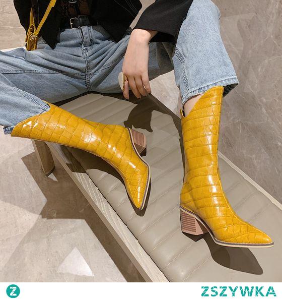 Piękne Żółta Zużycie ulicy Buty Damskie 2021 Botki 6 cm Grubym Obcasie Szpiczaste Boots