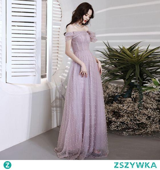 Piękne Lawenda Perła Sukienki Na Bal Princessa 2021 Przy Ramieniu Bez Rękawów Bez Pleców Długość Herbaty Bal Sukienki Wizytowe