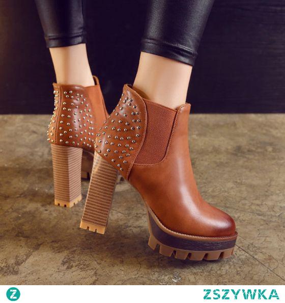 Moda Tan Zużycie ulicy Nit Buty Damskie 2021 11 cm Grubym Obcasie Okrągłe Toe Boots