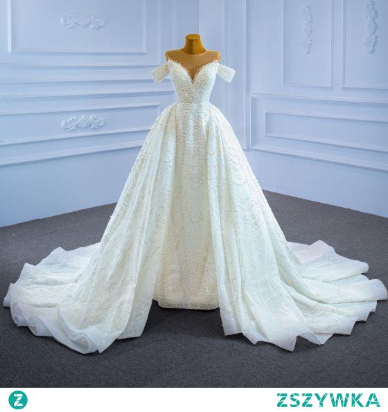 Iluzja Wysokiej Klasy Kość Słoniowa Frezowanie Perła Suknie Ślubne 2021 Princessa Wycięciem Cekinami Bez Rękawów Cekiny Trenem Katedra Ślub