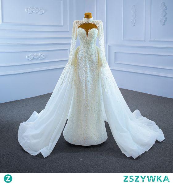 Wysokiej Klasy Luksusowe Kość Słoniowa Wykonany Ręcznie Frezowanie Perła Cekiny Suknie Ślubne 2021 Syrena / Rozkloszowane Wysokiej Szyi Długie Rękawy Trenem Sąd Ślub