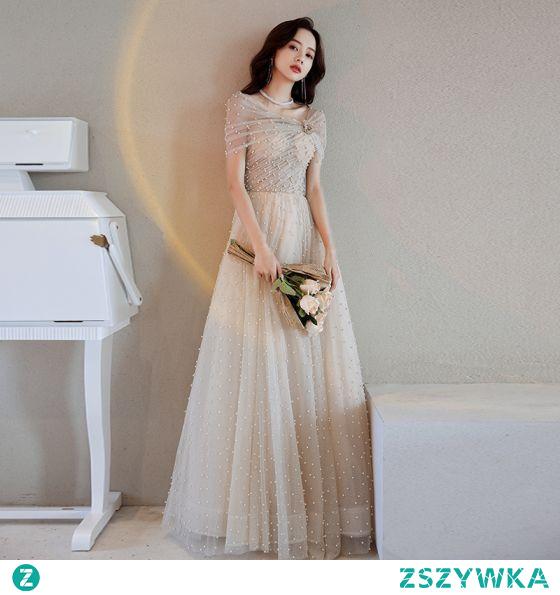 Uroczy Szampan Perła Cekiny Sukienki Na Bal 2021 Princessa Przy Ramieniu Kótkie Rękawy Długie Bal Sukienki Wizytowe