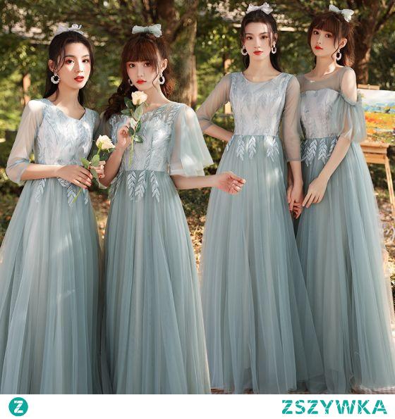 Proste / Simple Szałwia Zielony Haftowane Sukienki Dla Druhen 2021 Princessa V-Szyja 3/4 Rękawy Bez Pleców Długie Na Wesele Sukienki Na Wesele