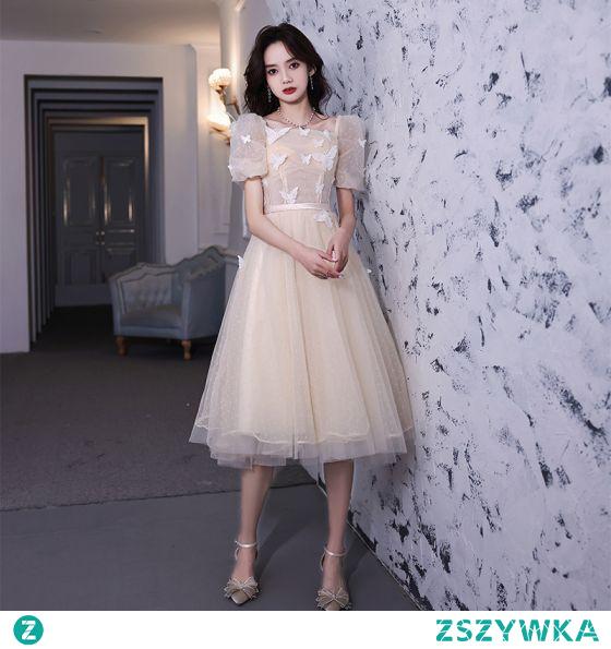 Moda Szampan Homecoming Z Koronki Motyl Sukienki Na Studniówke 2021 Princessa Kwadratowy Dekolt Kótkie Rękawy Długość Herbaty Sukienki Wizytowe