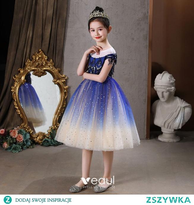 Vintage Królewski Niebieski Z Koronki Cekiny Urodziny Sukienki Dla Dziewczynek 2021 Princessa Wycięciem Kótkie Rękawy Długość Herbaty