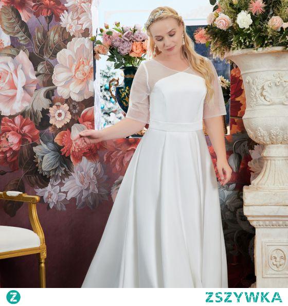 Proste / Simple Kość Słoniowa Satyna Duży Rozmiar Suknie Ślubne 2021 Princessa V-Szyja 1/2 Rękawy Długie Ślub