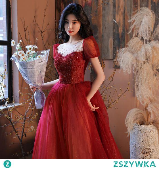 Moda Czerwone Sukienki Na Bal 2021 Princessa Wycięciem Frezowanie Kryształ Cekiny Kótkie Rękawy Bez Pleców Długie Bal Sukienki Wizytowe