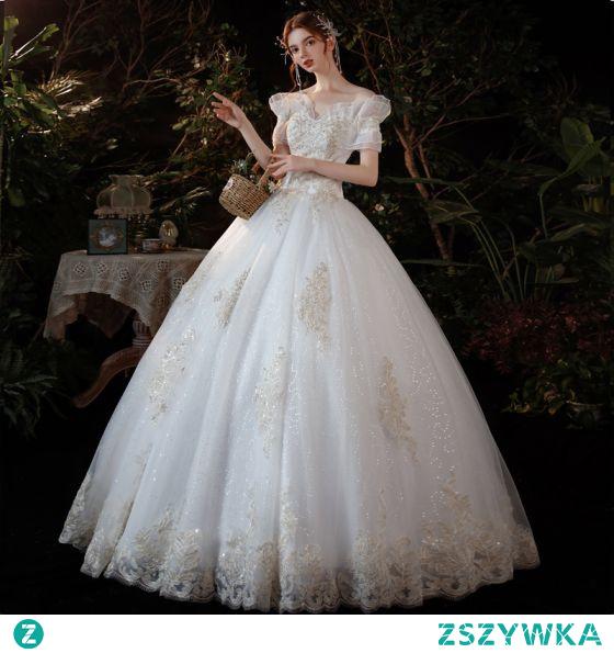 Niedrogie Kość Słoniowa Cekinami Cekiny Suknie Ślubne 2021 Suknia Balowa Przy Ramieniu Z Koronki Kwiat Kótkie Rękawy Bez Pleców Długie Ślub