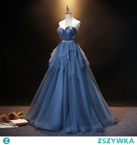 Moda Ciemnoniebieski Sukienki Na Bal 2021 Princessa Bez Ramiączek Rhinestone Szarfa Bez Rękawów Bez Pleców Długie Sukienki Wizytowe