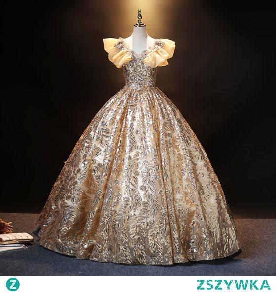 Błyszczące Złote Cekiny Sukienki Na Bal 2021 Suknia Balowa V-Szyja Z Koronki Kwiat Rhinestone Wzburzyć Kótkie Rękawy Bez Pleców Długie Bal Sukienki Wizytowe