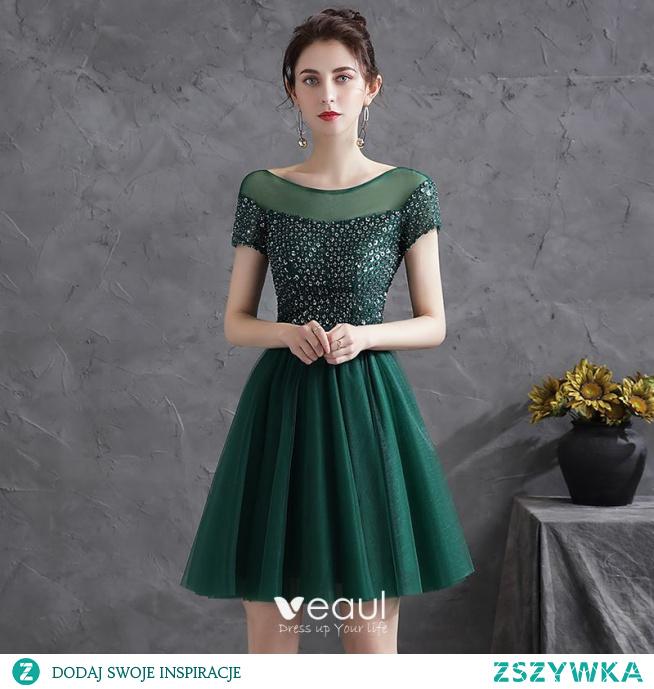 Piękne Ciemnozielony Strona Sukienka Sukienki Koktajlowe 2021 Princessa Wycięciem Cekiny Szarfa Kótkie Rękawy Bez Pleców Krótkie Koktajlowe Sukienki Wizytowe