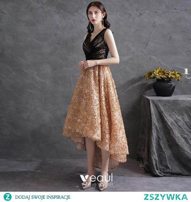 Piękne Czarne Homecoming Asymetryczny Sukienki Koktajlowe Sukienki Na Studniówke 2021 Princessa V-Szyja Bez Rękawów Aplikacje Koktajlowe Sukienki Wizytowe
