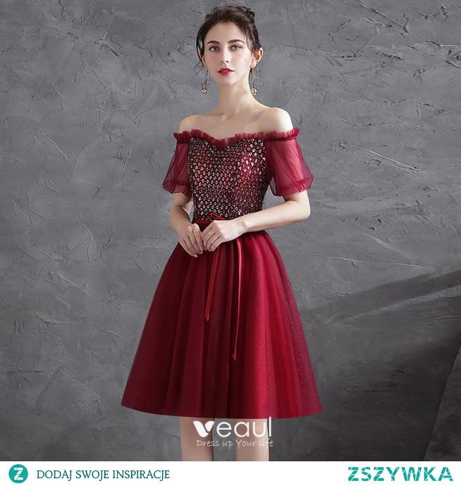 Uroczy Burgund Cekiny Sukienki Koktajlowe 2021 Princessa Przy Ramieniu Kokarda Kótkie Rękawy Bez Pleców Długość do kolan Koktajlowe Sukienki Wizytowe