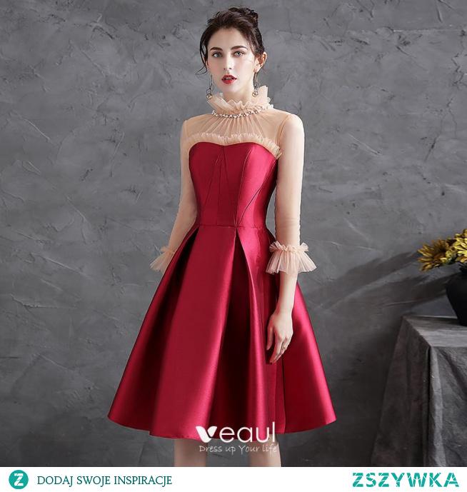 Piękne Czerwone Homecoming Satyna Sukienki Na Studniówke 2021 Princessa Wzburzyć Perła Wysokiej Szyi 3/4 Rękawy Długość do kolan Sukienki Wizytowe
