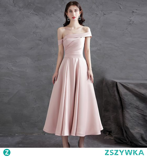 Proste / Simple Rumieniąc Różowy Satyna Homecoming Sukienki Na Studniówke Sukienki Dla Druhen 2021 Princessa Przy Ramieniu Bez Rękawów Bez Pleców Długość Herbaty Sukienki Wizytowe