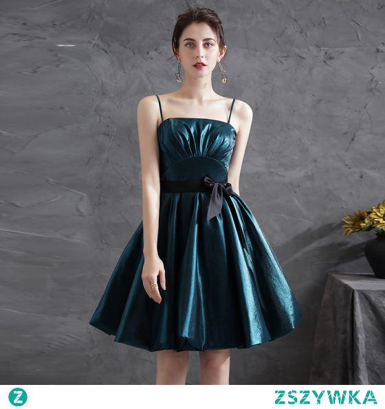 Stylowe / Modne Tusz Niebieski Strona Sukienka 2021 Princessa Spaghetti Pasy Kokarda Bez Rękawów Krótkie Bez Pleców Sukienki Wizytowe