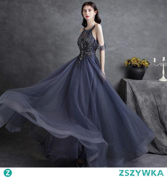 Vintage Granatowe Sukienki Wieczorowe Sukienki Na Bal 2021 Princessa Wycięciem Frezowanie Kryształ Rhinestone Bez Rękawów Bez Pleców Długie Wieczorowe Bal Sukienki Wizytowe