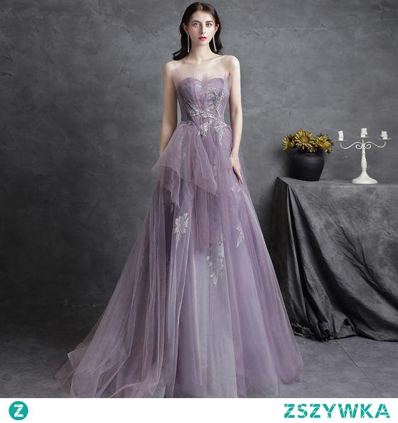 Piękne Fioletowe Sukienki Na Bal Sukienki Wieczorowe 2021 Princessa Bez Ramiączek Cekiny Z Koronki Kwiat Bez Rękawów Bez Pleców Trenem Sweep Wieczorowe Sukienki Wizytowe