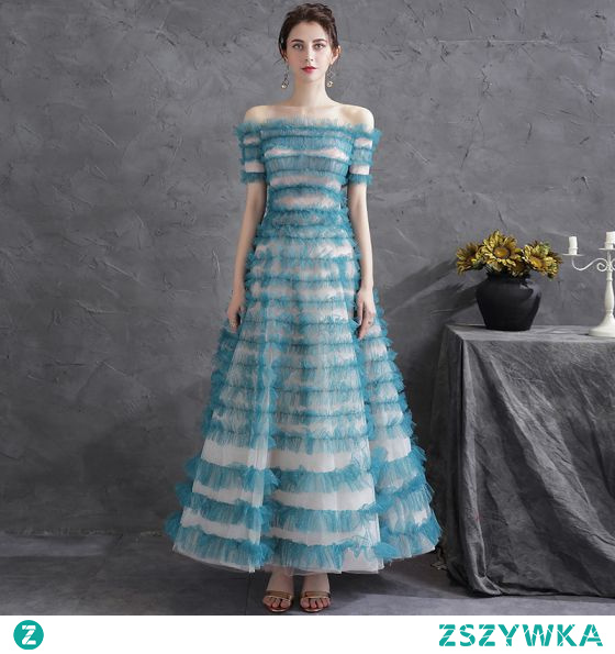 Piękne Jade Zielony Cekinami Wzburzyć Sukienki Na Bal 2021 Princessa Przy Ramieniu Kótkie Rękawy Bez Pleców Długie Sukienki Wizytowe