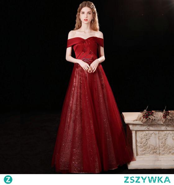 Uroczy Burgund Sukienki Na Bal 2021 Princessa Przy Ramieniu Frezowanie Rhinestone Cekiny Bez Rękawów Bez Pleców Długie Bal Sukienki Wizytowe