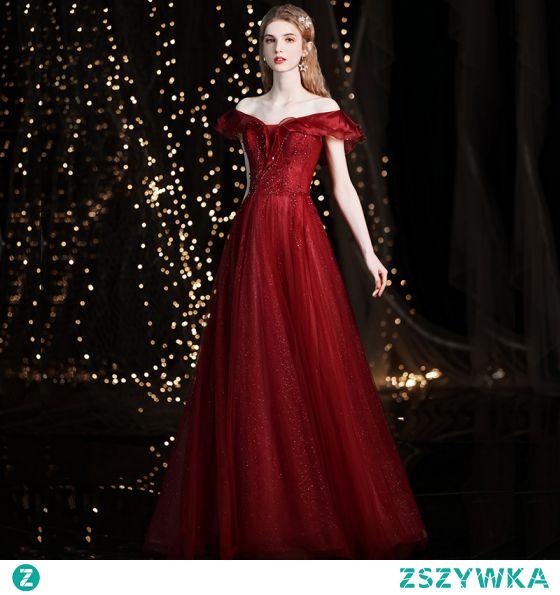 Uroczy Burgund Sukienki Na Bal 2021 Princessa Przy Ramieniu Frezowanie Cekiny Kótkie Rękawy Bez Pleców Długie Sukienki Wizytowe
