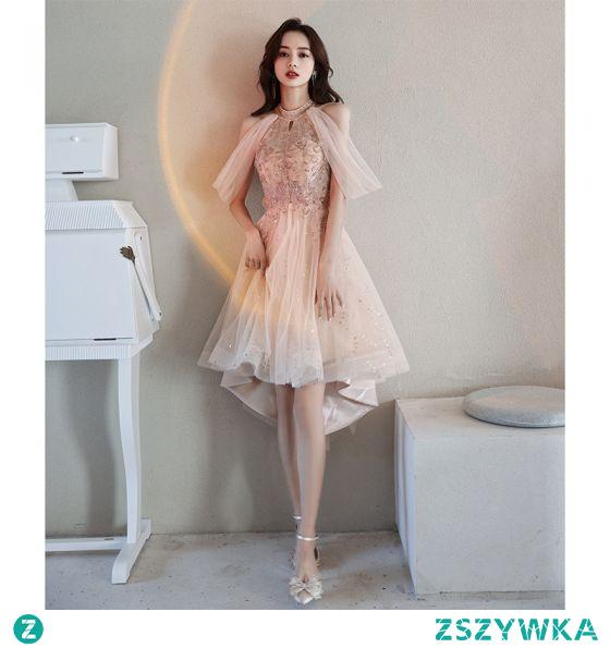 Błyszczące Uroczy Szampan Homecoming Asymetryczny Sukienki Na Studniówke Sukienki Koktajlowe 2021 Princessa Wycięciem Frezowanie Cekiny Bez Rękawów Sukienki Wizytowe
