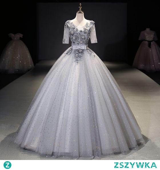 Uroczy Szary Cekinami Sukienki Na Bal 2021 Suknia Balowa Wycięciem Frezowanie Cekiny Z Koronki Kwiat Kokarda 1/2 Rękawy Bez Pleców Długie Bal Sukienki Wizytowe