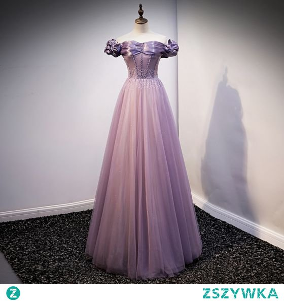 Eleganckie Fioletowe Sukienki Na Bal 2021 Princessa Przy Ramieniu Frezowanie Kótkie Rękawy Bez Pleców Długie Bal Sukienki Wizytowe