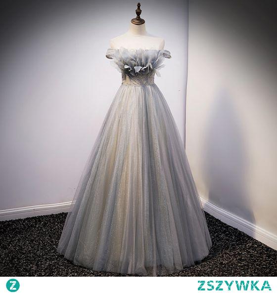 Moda Srebrny Cekinami Sukienki Na Bal 2021 Princessa Przy Ramieniu Frezowanie Perła Cekiny Bez Rękawów Bez Pleców Długie Bal Sukienki Wizytowe