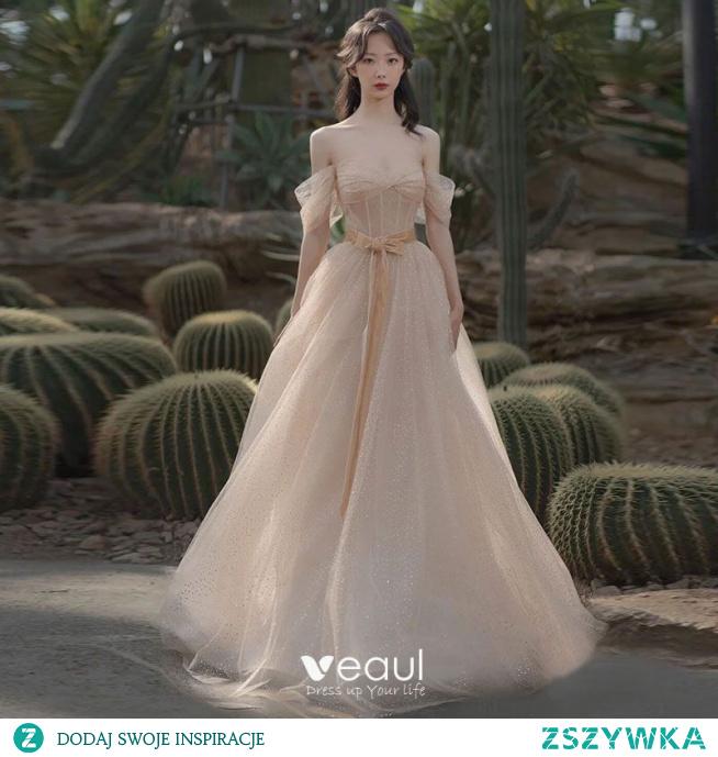 Uroczy Szampan Cekinami Cekiny Sukienki Na Bal 2021 Princessa Przy Ramieniu Kótkie Rękawy Bez Pleców Długie Bal Sukienki Wizytowe