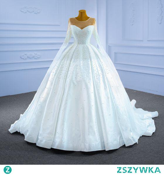 Wysokiej Klasy Kość Słoniowa Frezowanie Perła Suknie Ślubne 2021 Suknia Balowa Wycięciem Długie Rękawy Trenem Królewski Ślub