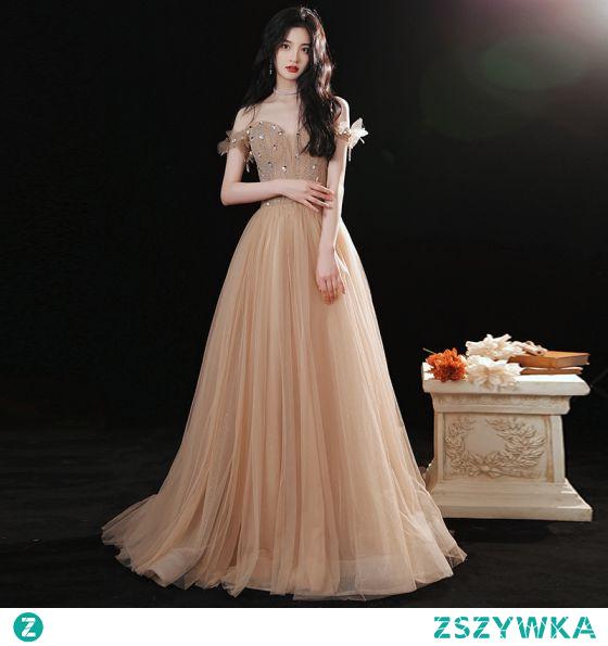 Uroczy Szampan Sukienki Na Bal 2021 Princessa Przy Ramieniu Frezowanie Rhinestone Cekiny Kótkie Rękawy Bez Pleców Długie Sukienki Wizytowe