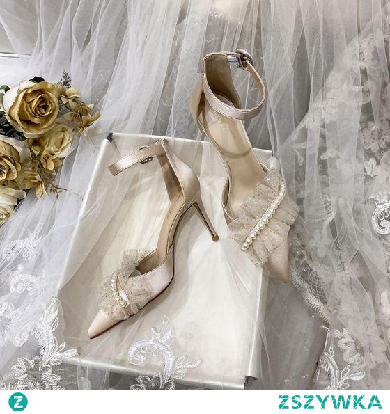 Moda Szampan Satyna Buty Ślubne 2021 Z Paskiem Perła Cekiny 8 cm Szpilki Szpiczaste Ślub Sandały Wysokie Obcasy