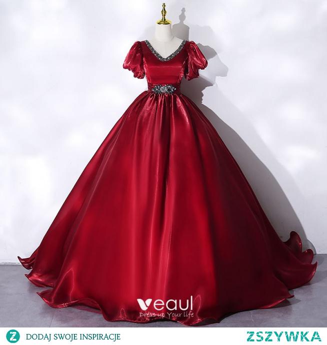Elegancka Burgund Sukienki Na Bal 2021 Suknia Balowa V-Szyja Kryształ Rhinestone Kótkie Rękawy Bez Pleców Długie Bal Sukienki Wizytowe